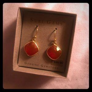 18K Sterling Silver Red Onyx Dangling Earrings